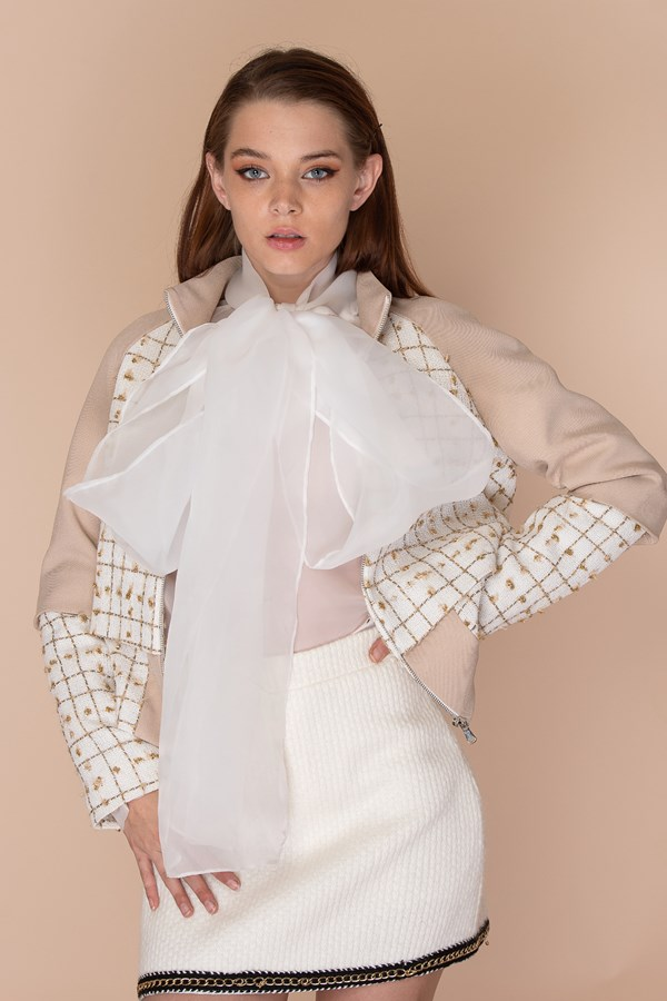 So Pretty It Hurts Tweed Jacket - White/Nude