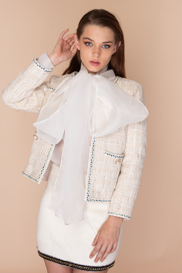 Sugar Free Tweed Jacket - Cream