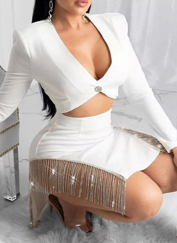 She Wore Moonlight Like Lingerie Diamanté Tassel Two Piece Set - White