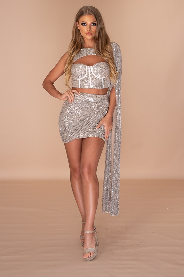 New Car, Caviar, Five Star Corset Two Piece Set - Silver