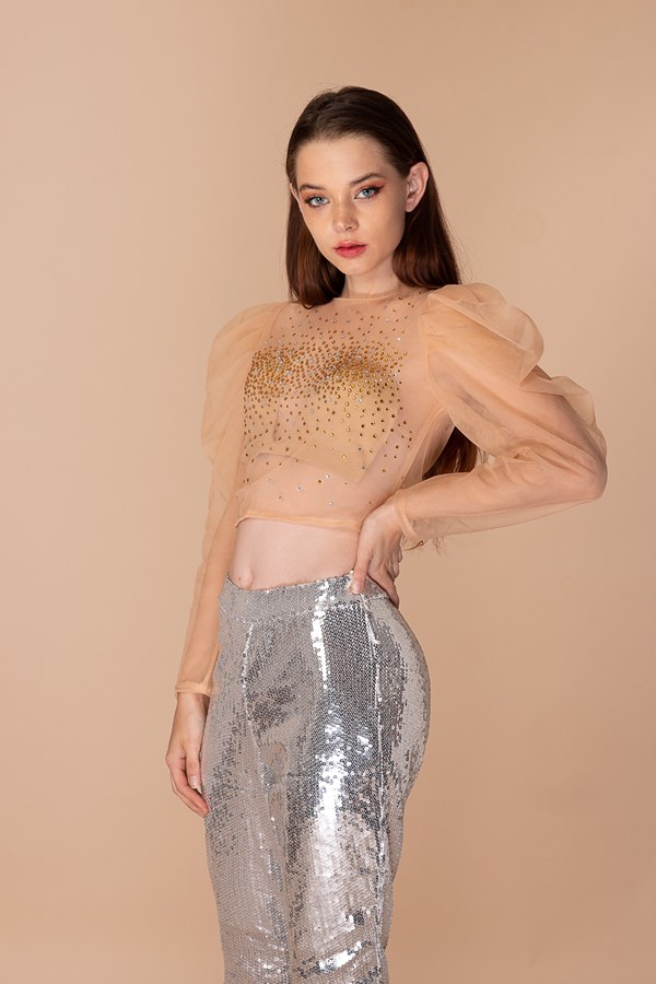 See Through Your Soul Embellished Mesh Top - Nude