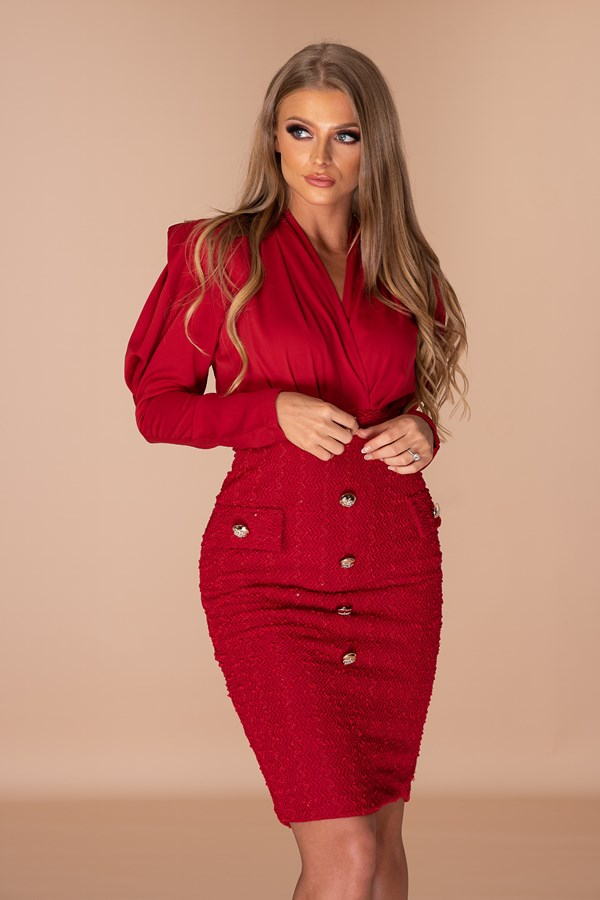 Mixing Business And Pleasure Tweed Dress - Red