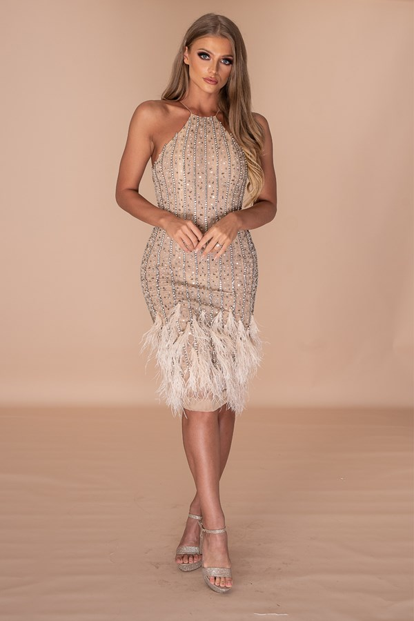 Crossing The Line Hand Embellished Crystal Feather Middi Dress - Nude