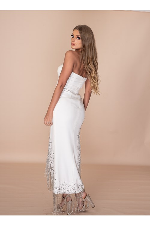 Dress How You Want To Be Addressed Hand Embellished Crystal Tassel Gown - White