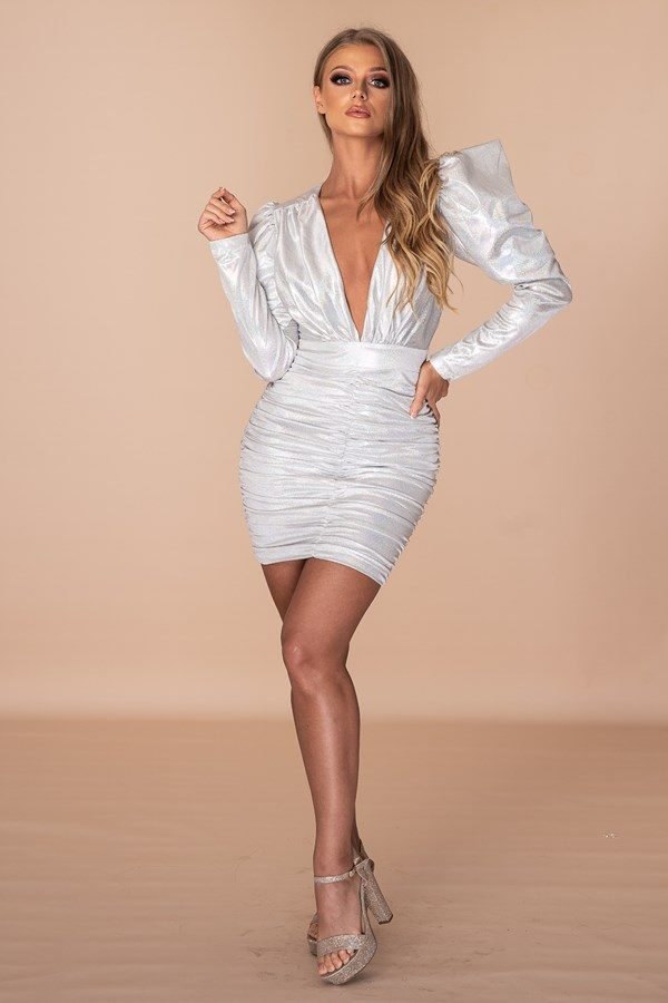 Wear Or Wouldn't Dare Deep V Cut Neck Ruched Dress - Silver