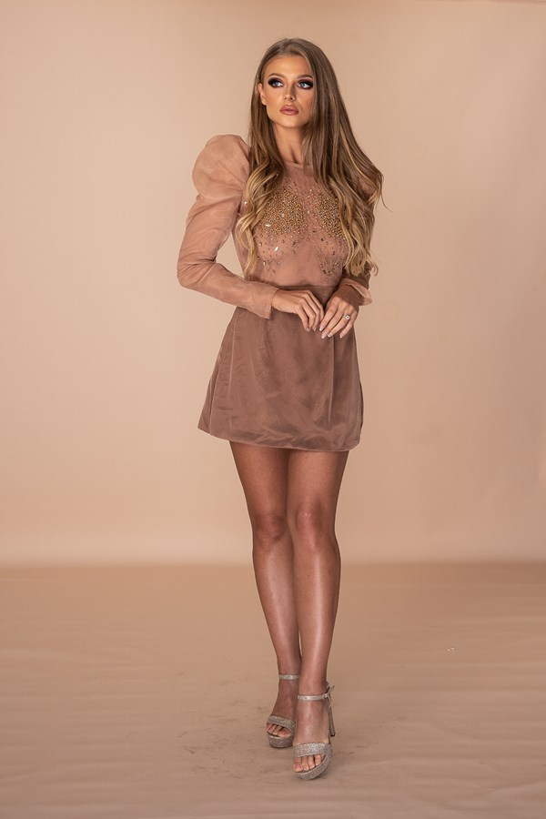 Hard To Be Sad When You Look This Nice Hand Embellished Beaded Suede Dress - Brown