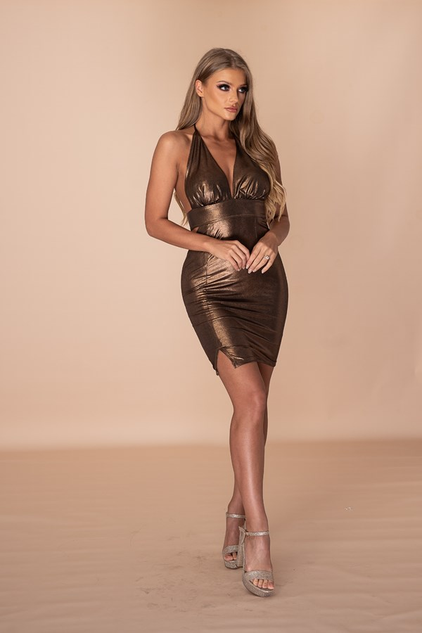 Sweet But Psycho Open Back Mini Dress - Metallic Bronze