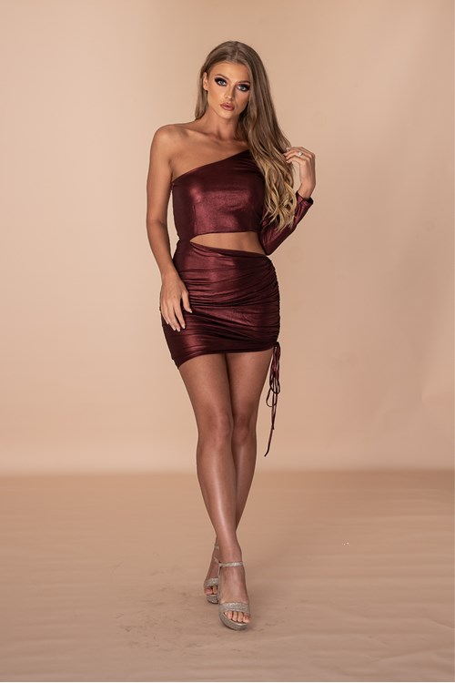 ASSthetic Ruched One Shoulder Dress - Metallic Wine