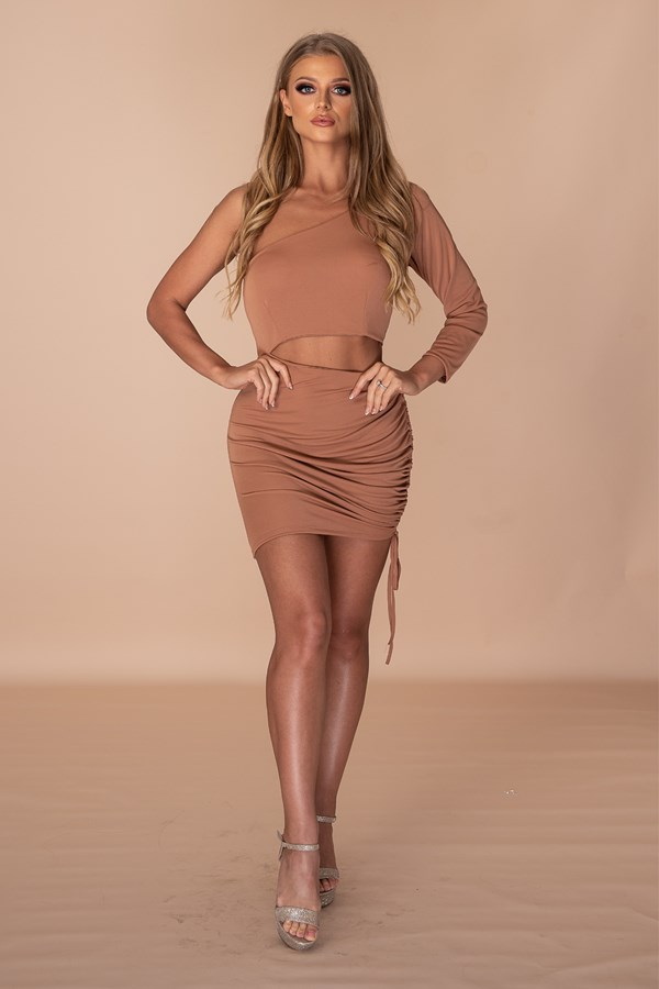 ASSthetic Ruched One Shoulder Dress - Nude
