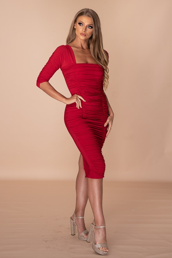Stressed But Well Dressed Ruched Middi Dress - Red