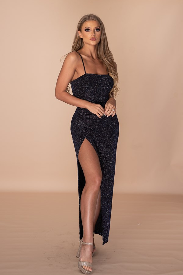 Not Taking No For An Answer Thigh Slit Gown - Galaxy Navy
