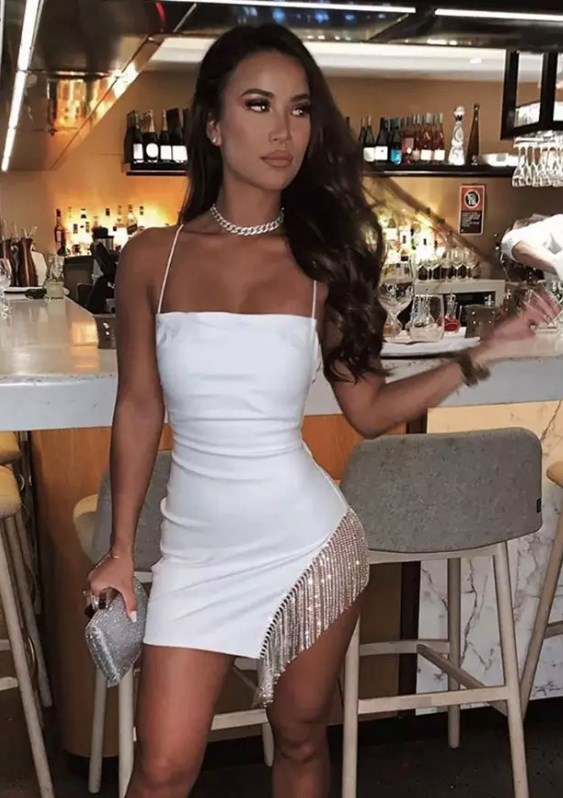 Specialised In Cuteness Diamanté Tassel Mini Dress - White