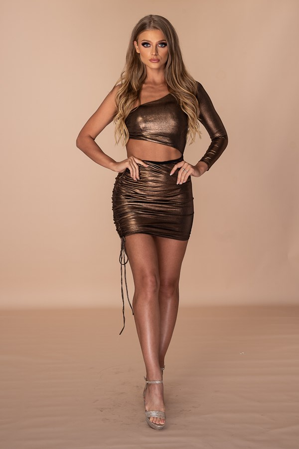 ASSthetic Ruched One Shoulder Dress - Metallic Bronze