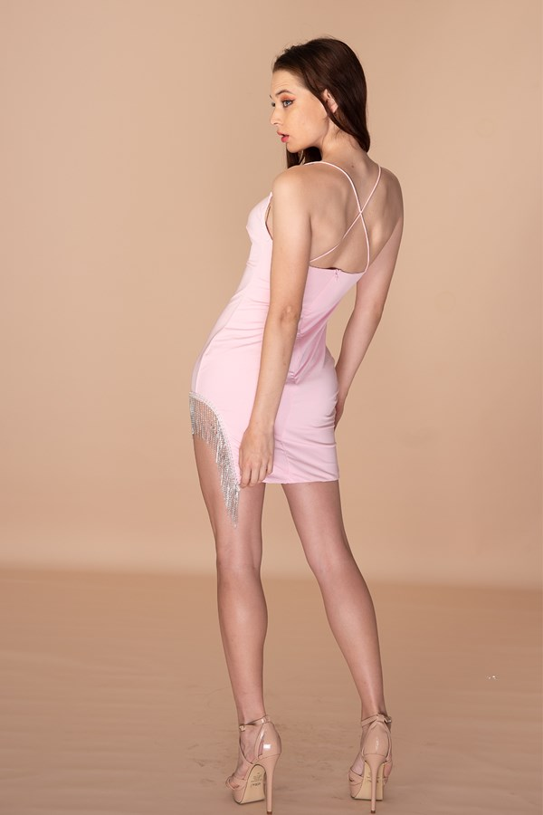 Specialised In Cuteness Diamante Tassel Dress - Pink