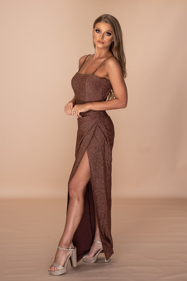Not Taking No For An Answer Thigh Slit Gown - Chocolate