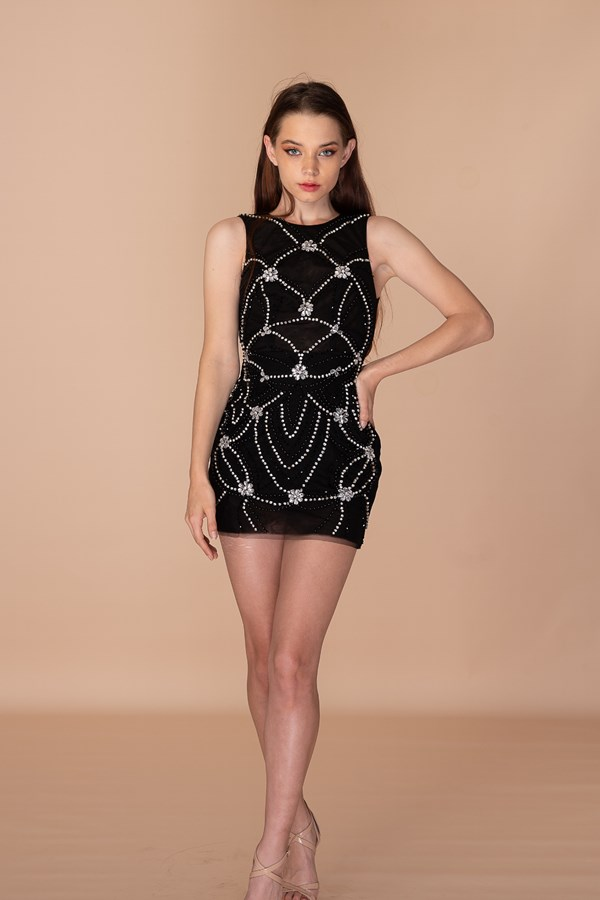 Angel Is My Middle Name Crystal Dress -  Black