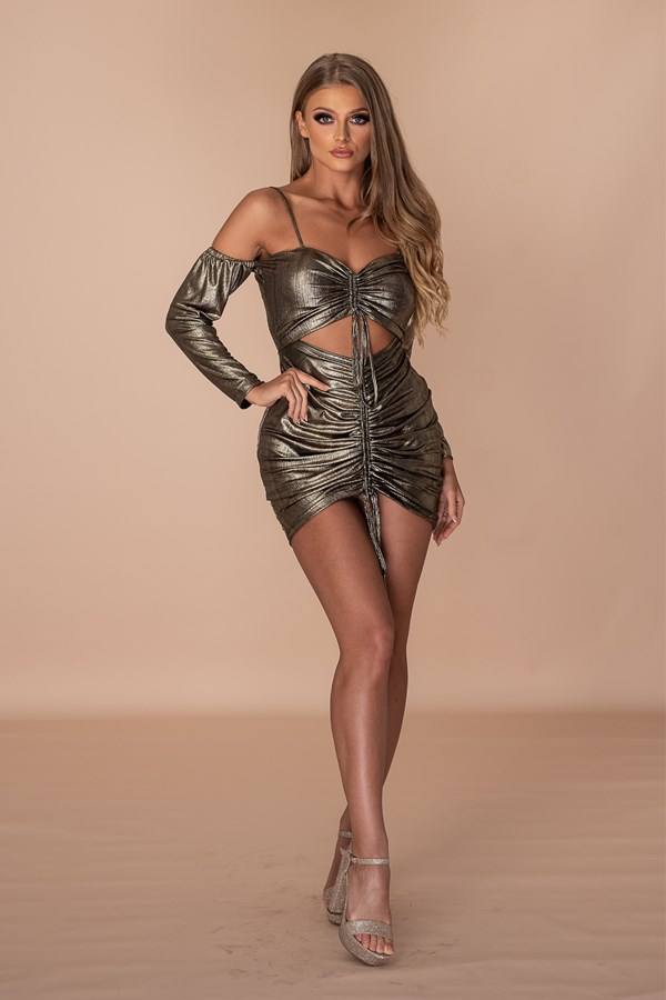 Curvy Hips & Nude Lips Ruched Dress - Metallic Gold