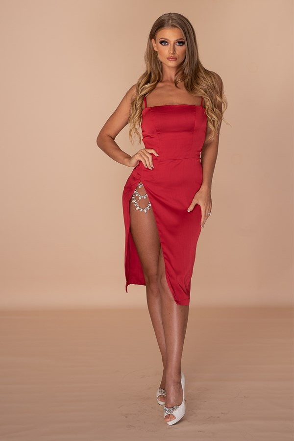 Worn To Be Taken Off Thigh High Slit Crystal Chain Dress - Red
