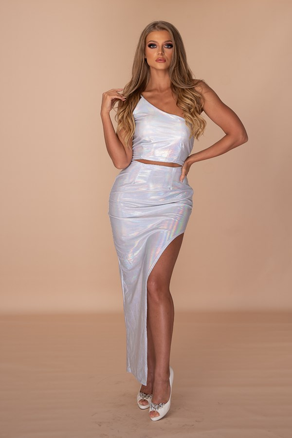 SENsitive One Shoulder Spaghetti Strap Dress - Hologram