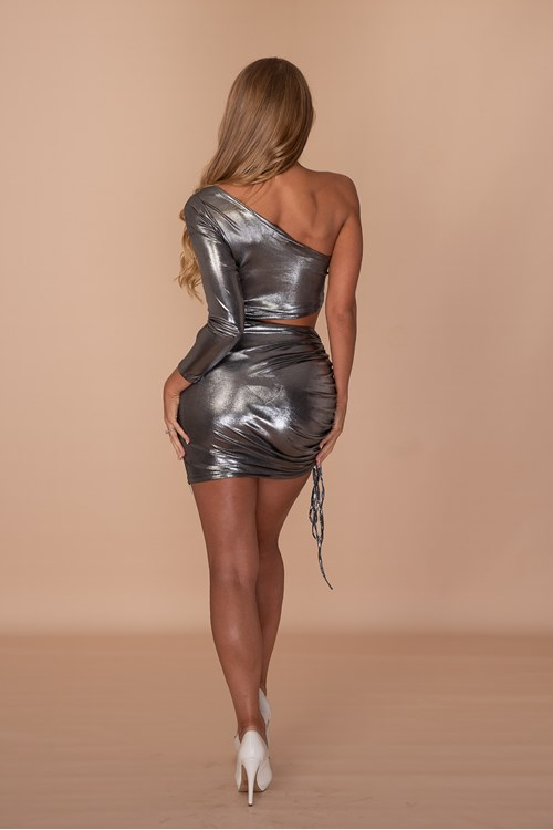 ASSthetic Ruched One Shoulder Dress - Metallic Charcoal