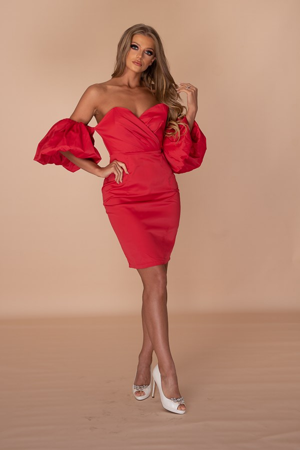 Gotta Pay To Play Puff Sleeve Dress - Red