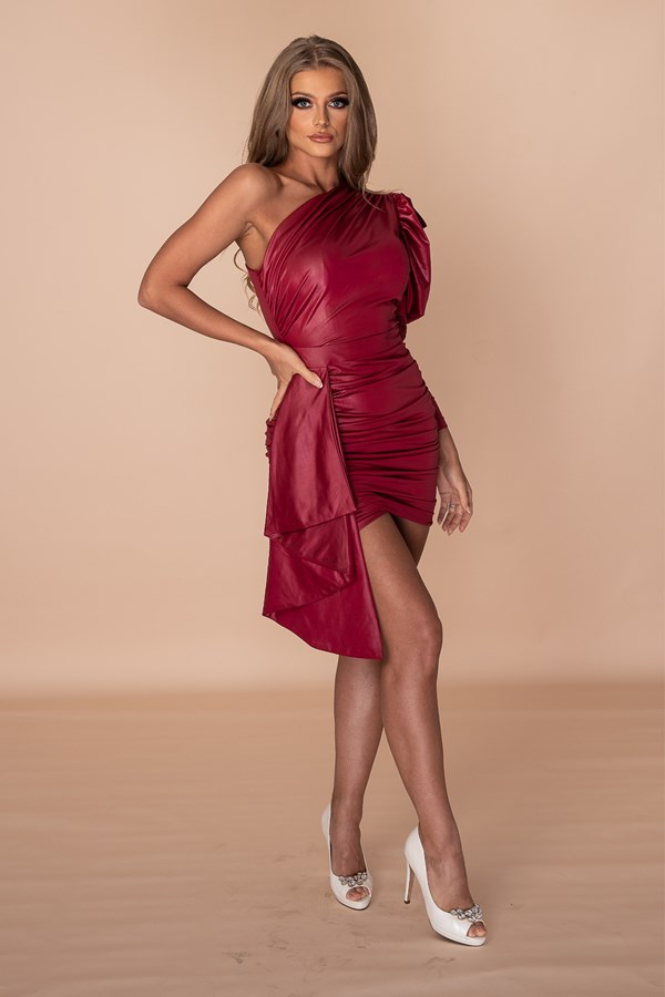 Cost To Be The Boss Synthetic Leather Dress - Red