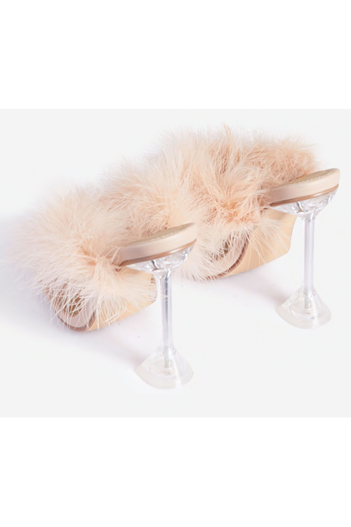 The Classy Issue Diamante Detail Fluffy Square Toe Clear Perspex Pyramid Heel Mule Faux Leather