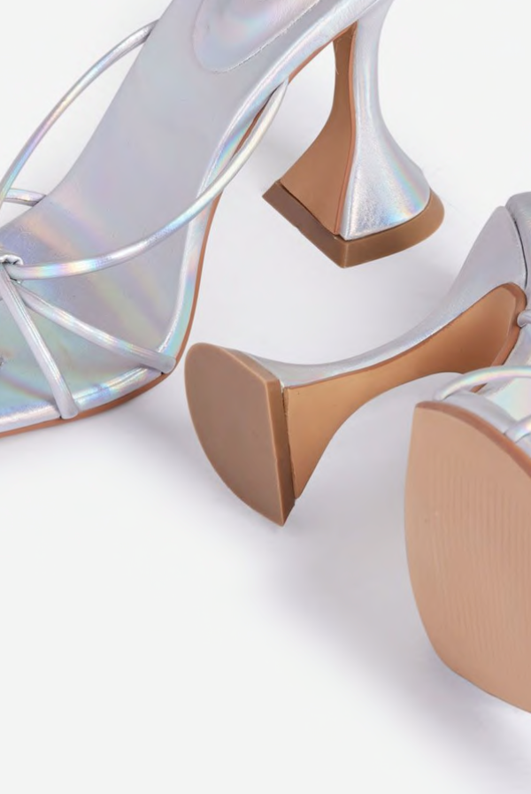 Brighter Than My Future - Trip Knot Detail Square Toe Pyramid Heel Mule In Silver Holographic Faux Leather