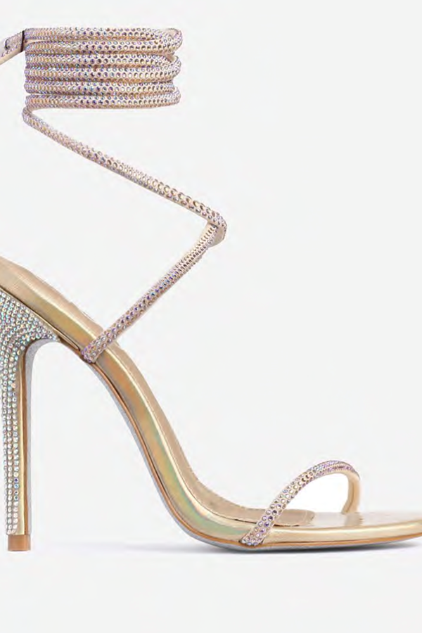 Louboutin On My Feet Glitter Sole Diamante Detail Lace Up Heel In Gold Faux Leather
