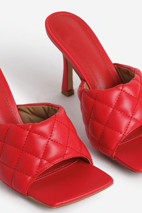 In Flame Square Toe Quilted Heel Mule Faux Leather - Red