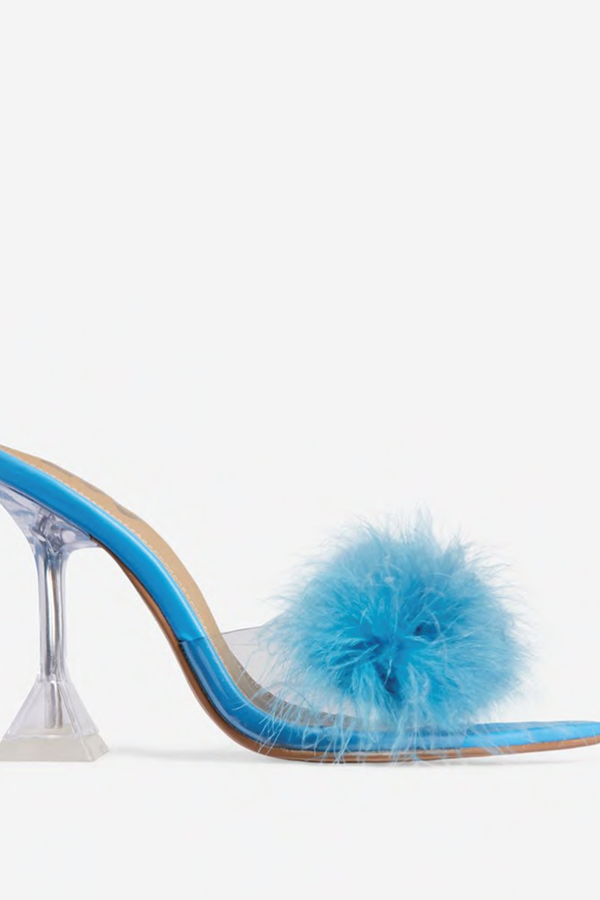 Princess Is My Middle Name Fluffy Pointed Peep Toe Clear Perspex Pyramid Heel Mule Faux Leather