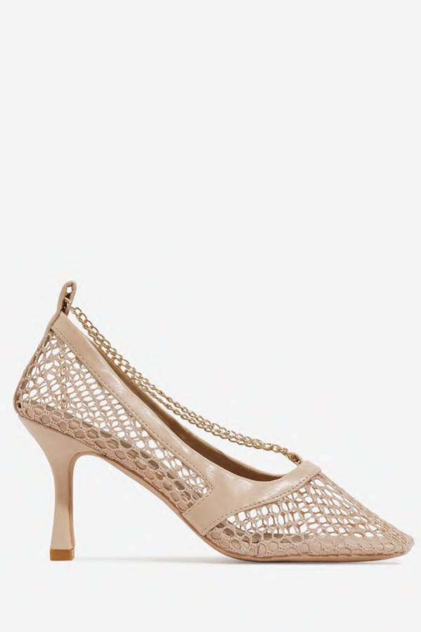 I'm A Kitten Person Chain Detail Square Toe Fishnet Court Heel Faux Leather - Nude