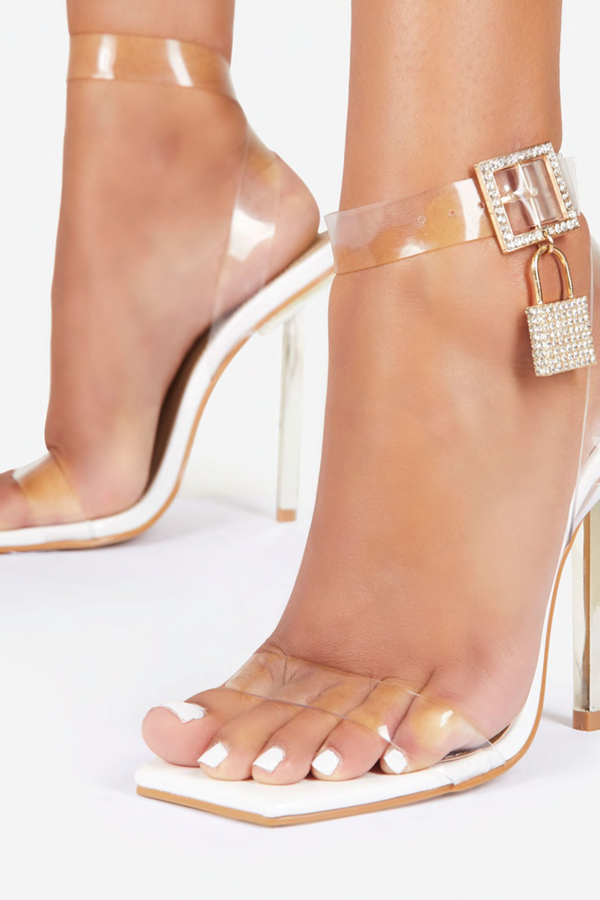 Lost My Key Diamante Lock Detail Square Toe Clear Perspex Heel - White