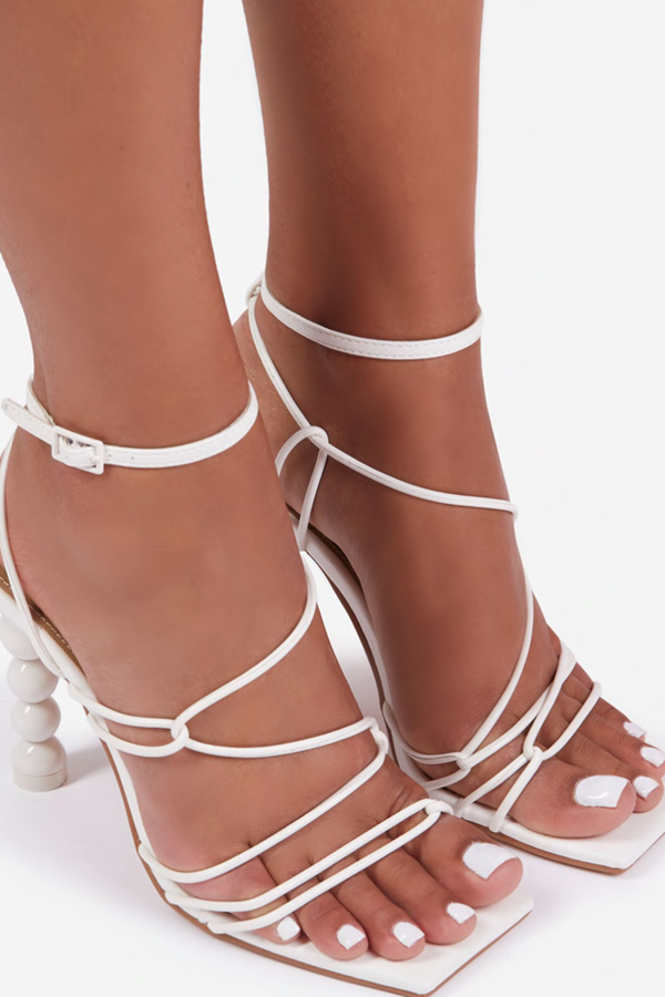 Sun Bathing Strappy Square Toe Sculptured Heel Faux Leather - White