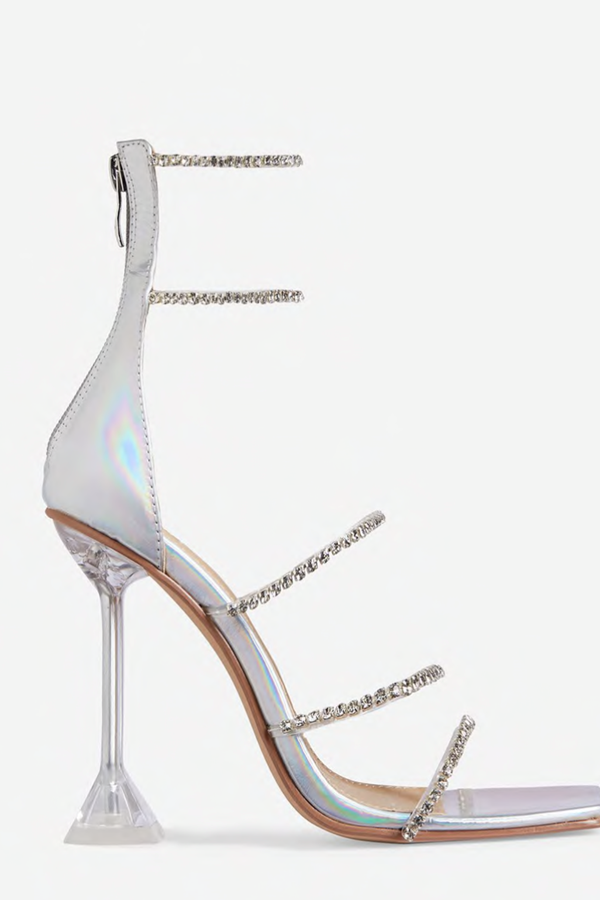 Step On It Diamante Detail Square Toe Caged Clear Perspex Pyramid Heel Faux Leather - Silver