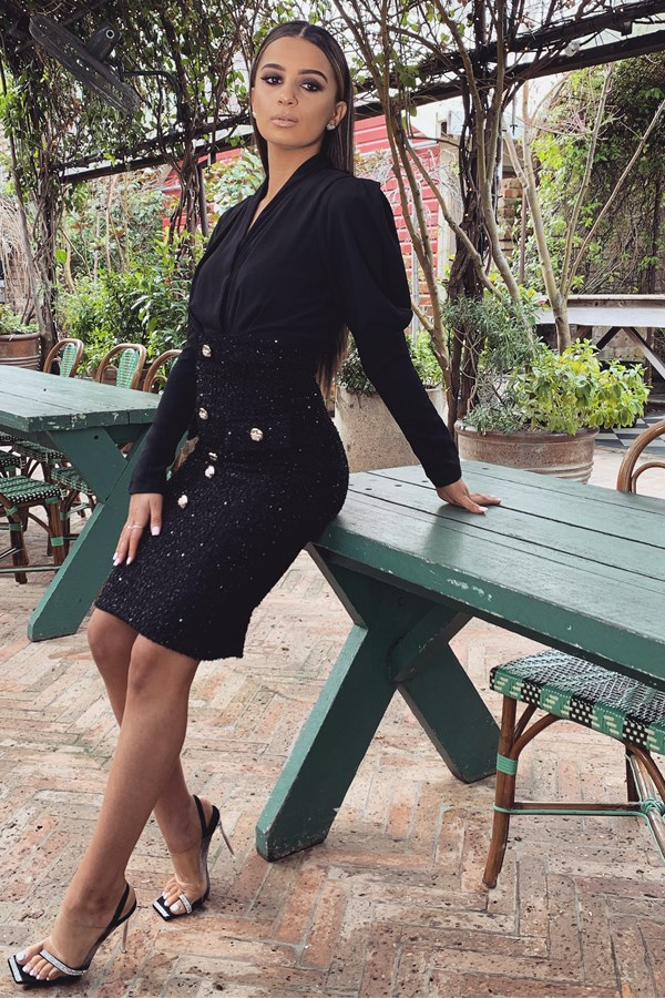 Mixing Business And Pleasure Tweed Dress - Black