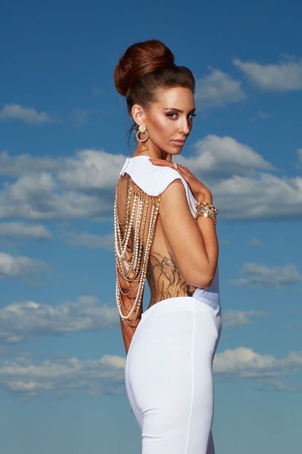 Got Your Back Gold And Pearl Chain Jumpsuit SAMPLE - White