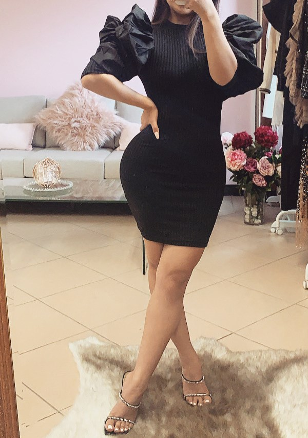 Came Back Like A Boomerang Puff Sleeve Dress - Black