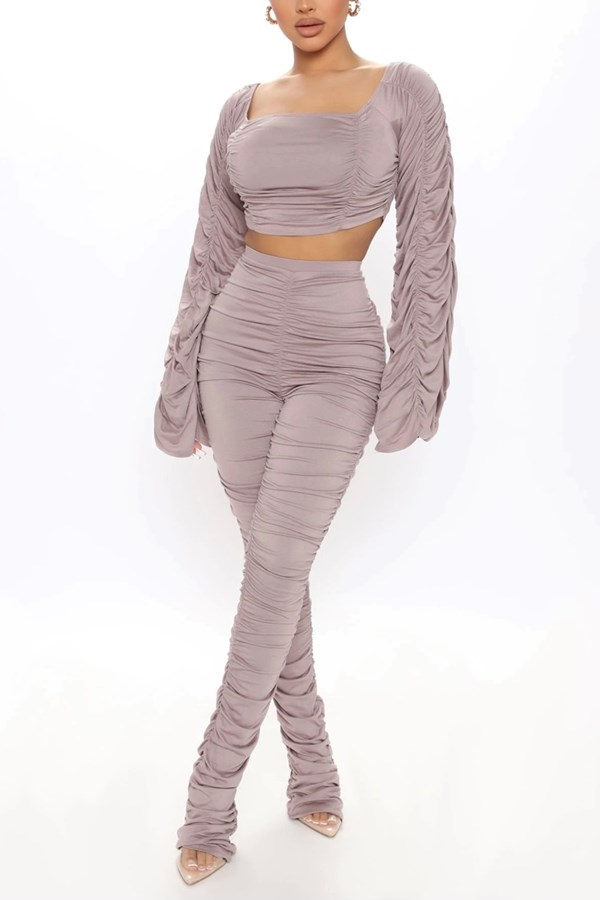 Can't Dance But Does Anyway Matching Pant Set - Dusty Mauve